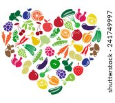 heart made of fruits and... | Shutterstock . vector #241749997