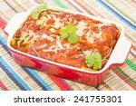 chicken   chorizo enchiladas  ... | Shutterstock . vector #241755301