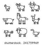 farm animals. set of black... | Shutterstock .eps vector #241759969