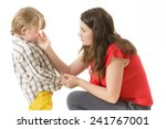 mother consoling her little boy | Shutterstock . vector #241767001