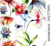 seamless wallpaper with summer...   Shutterstock . vector #241777891