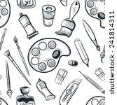 seamless art tools pattern... | Shutterstock .eps vector #241814311