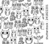 Hand Drawn Owl Seamless Pattern