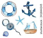 nautical design elements hand... | Shutterstock .eps vector #241844245