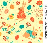 happy easter seamless pattern... | Shutterstock .eps vector #241867741