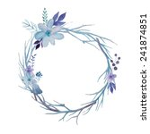 Watercolor vector wreath. Floral frame design. Vector forest background