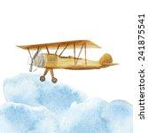Watercolor Retro Airplane In...