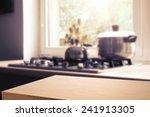 wooden desk space  | Shutterstock . vector #241913305