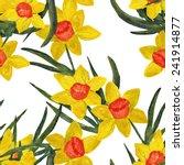 daffodil seamless pattern | Shutterstock . vector #241914877