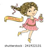 cute girl with a flashlight and ... | Shutterstock . vector #241922131