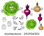 cartoon smiling vegetable...
