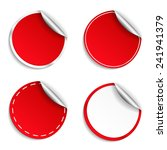 blank red round stickers with... | Shutterstock .eps vector #241941379