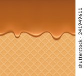 wafer and flowing caramel  ...   Shutterstock .eps vector #241949611