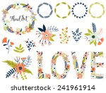 Stock vector vector set with vintage flowers vector illustration vintage love collection compositions wreath 241961914