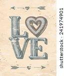 Love Typographic Poster. Hand...