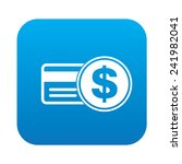 credit card icon on blue button ...