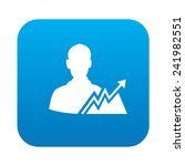 profit icon on blue button...