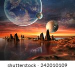 alien planet with planets ...   Shutterstock . vector #242010109