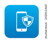 mobile security on blue button... | Shutterstock .eps vector #242011465