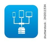 link database on blue button... | Shutterstock .eps vector #242011534