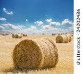 Straw Bales With Blue Cloudy Sky