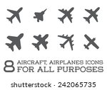 aircraft or airplane icons set...