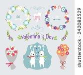 valentine's day hand drawn set... | Shutterstock .eps vector #242082529