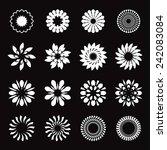 set of white geometric flowers  ... | Shutterstock .eps vector #242083084