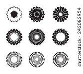set of black geometric flowers  ... | Shutterstock .eps vector #242083954
