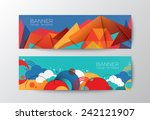 Abstract Colorful Polygon Clou...