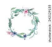 watercolor vector wreath.... | Shutterstock .eps vector #242129155