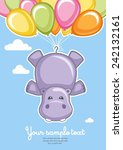 greeting card hippo with... | Shutterstock .eps vector #242132161