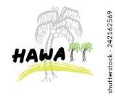 hawaii travel poster cartoon... | Shutterstock .eps vector #242162569