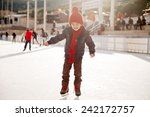 Happy Boy With Red Hat  Skatin...