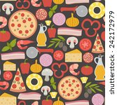 seamless pattern with pizza... | Shutterstock .eps vector #242172979
