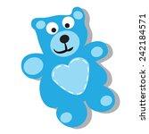 cute blue teddy bear.  | Shutterstock .eps vector #242184571
