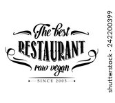 retro raw vegan restaurant... | Shutterstock .eps vector #242200399