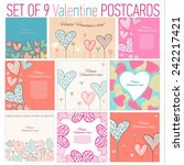 set of 9 happy valentines day... | Shutterstock .eps vector #242217421
