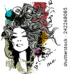 ink print  with girl and... | Shutterstock .eps vector #242268085