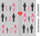 pixel family set | Shutterstock .eps vector #242286004