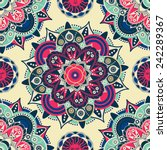 Ethnic Floral Seamless Pattern. ...