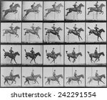 Consecutive images of man riding a horse. From Eadweard Muybridge