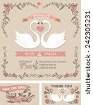 retro wedding template set with ... | Shutterstock .eps vector #242305231