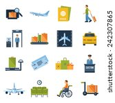 airport icons flat set with... | Shutterstock .eps vector #242307865