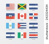 north america flat flags set | Shutterstock .eps vector #242324434