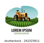 farm. tractor and harvest. logo ... | Shutterstock .eps vector #242325811