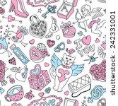 seamless cartoon vector pattern ... | Shutterstock .eps vector #242331001