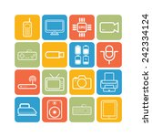 set of simple flat icons with... | Shutterstock .eps vector #242334124