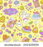seamless cartoon vector pattern ... | Shutterstock .eps vector #242335054