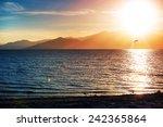 Southern California Salton Sea Landscape at Sunset. California, United States. Salton Sea Endorheic Rift Lake  - stock photo